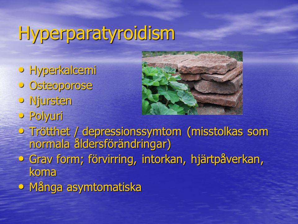 Hyperparatyroidism Hyperkalcemi Hyperkalcemi Osteoporose Osteoporose Njursten Njursten Polyuri Polyuri Trötthet / depressionssymtom (misstolkas som no