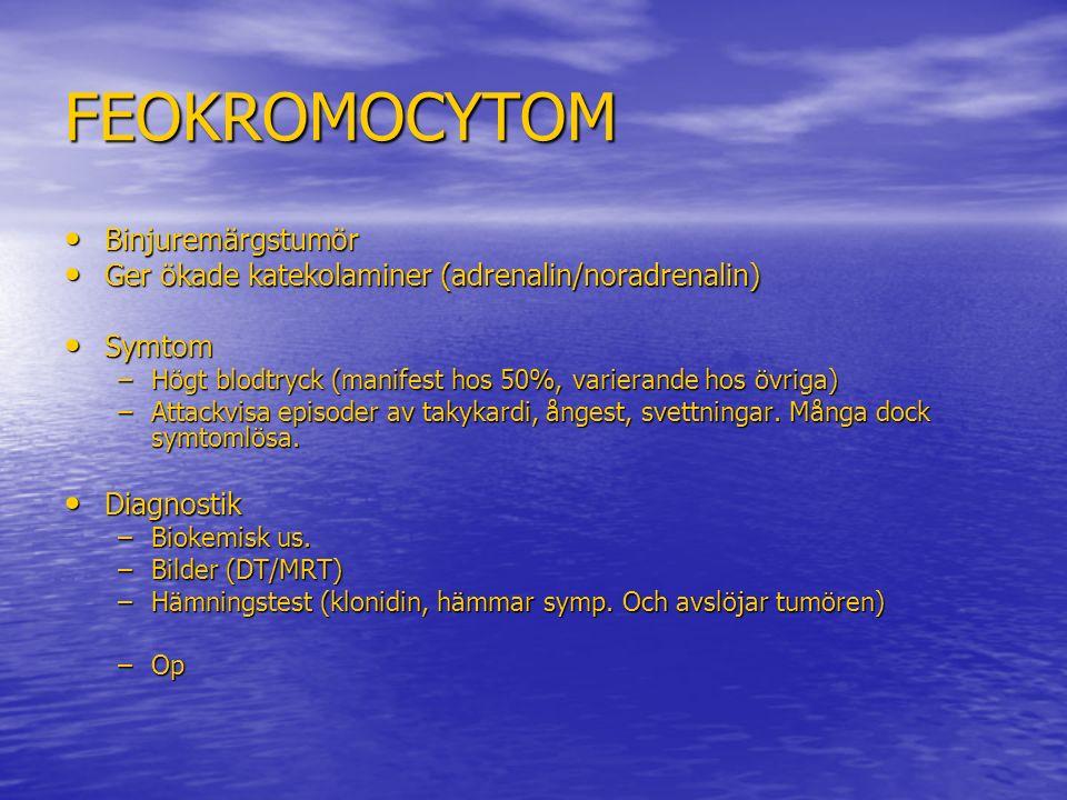 FEOKROMOCYTOM Binjuremärgstumör Binjuremärgstumör Ger ökade katekolaminer (adrenalin/noradrenalin) Ger ökade katekolaminer (adrenalin/noradrenalin) Sy