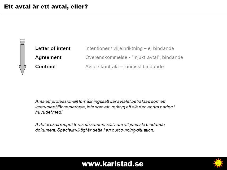 "Letter of intent Agreement Contract Intentioner / viljeinriktning – ej bindande Överenskommelse - ""mjukt avtal"", bindande Avtal / kontrakt – juridiskt"