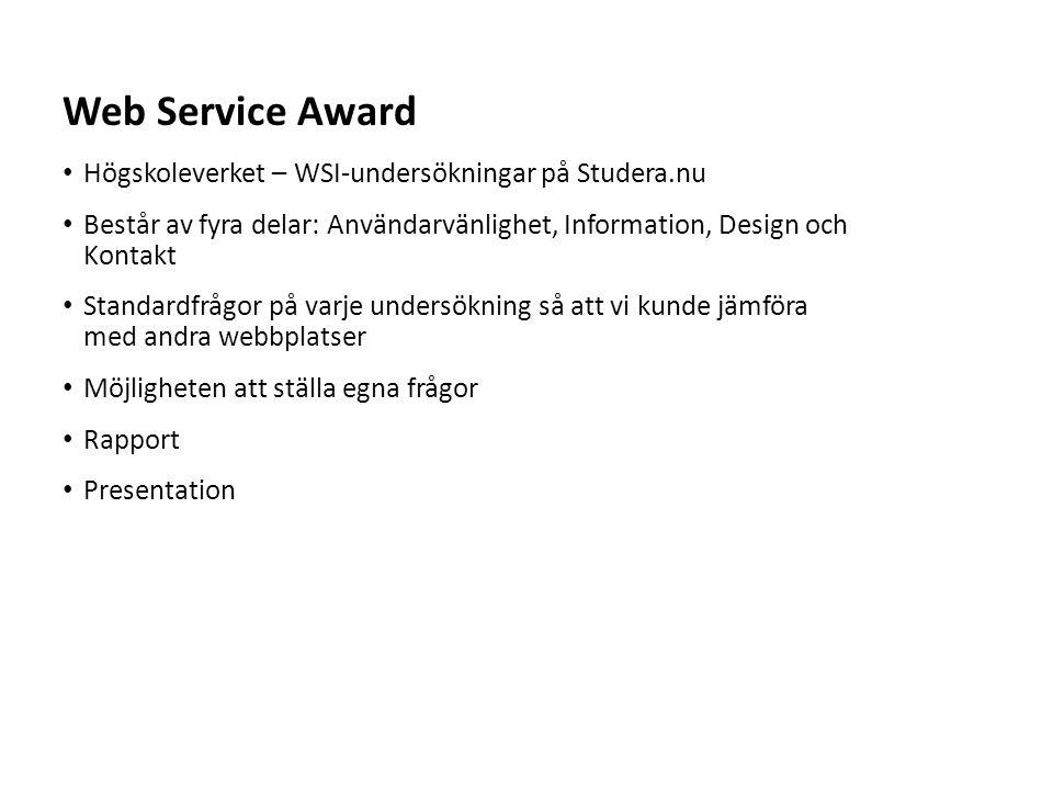 Sv Högskoleverket – WSI-undersökningar på Studera.nu Består av fyra delar: Användarvänlighet, Information, Design och Kontakt Standardfrågor på varje