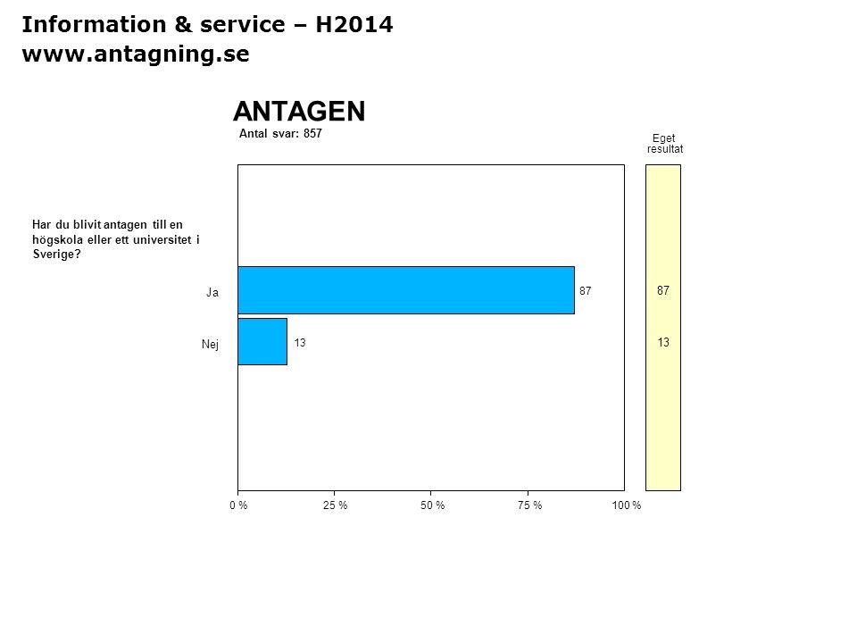 Sv Antal svar: 857 ANTAGEN 0 %25 %50 %75 %100 % Eget resultat Har du blivit antagen till en högskola eller ett universitet i Sverige? Ja 87 Nej 13 Inf