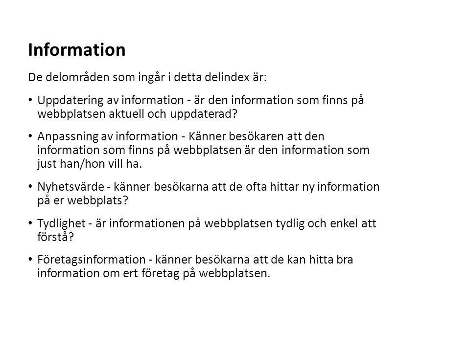Sv De delområden som ingår i detta delindex är: Uppdatering av information - är den information som finns på webbplatsen aktuell och uppdaterad? Anpas