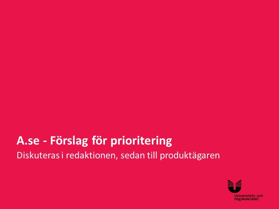 Sv A.se - Förslag för prioritering Diskuteras i redaktionen, sedan till produktägaren