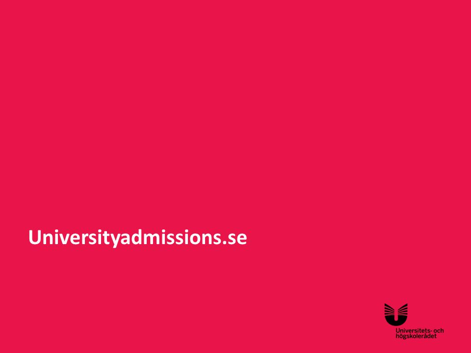 Sv Universityadmissions.se