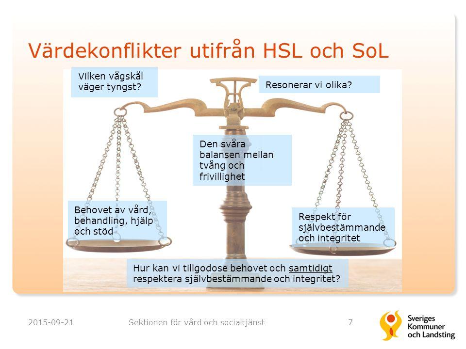 Värdekonflikter utifrån HSL och SoL 2015-09-21Sektionen för vård och socialtjänst7 Behovet av vård, behandling, hjälp och stöd Respekt för självbestämmande och integritet Hur kan vi tillgodose behovet och samtidigt respektera självbestämmande och integritet.