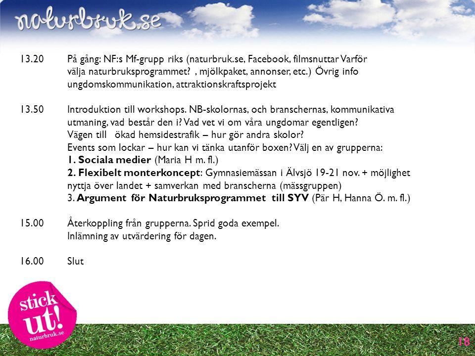 18 13.20 På gång: NF:s Mf-grupp riks (naturbruk.se, Facebook, filmsnuttar Varför välja naturbruksprogrammet , mjölkpaket, annonser, etc.) Övrig info ungdomskommunikation, attraktionskraftsprojekt 13.50 Introduktion till workshops.