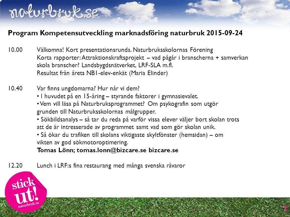 2 Program Kompetensutveckling marknadsföring naturbruk 2015-09-24 10.00 Välkomna.