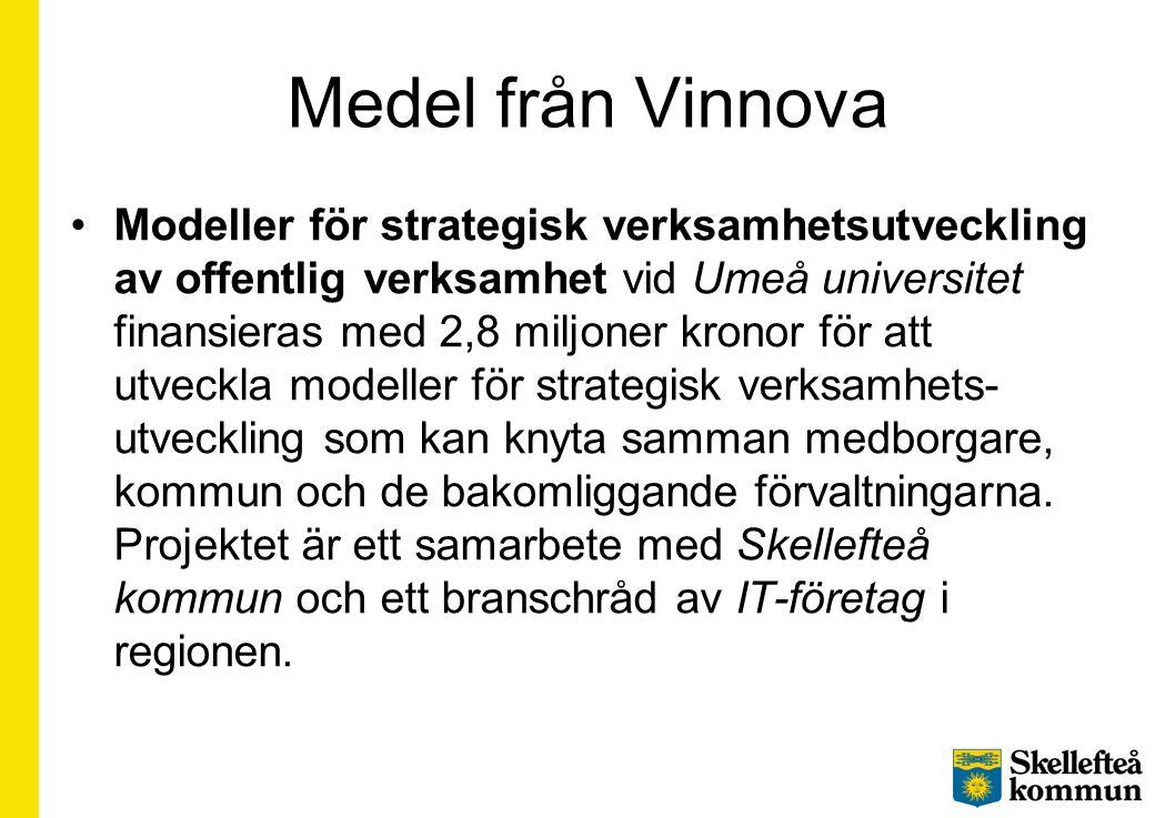 Medel från Vinnova Modeller för strategisk verksamhetsutveckling av offentlig verksamhet vid Umeå universitet finansieras med 2,8 miljoner kronor för att utveckla modeller för strategisk verksamhets- utveckling som kan knyta samman medborgare, kommun och de bakomliggande förvaltningarna.