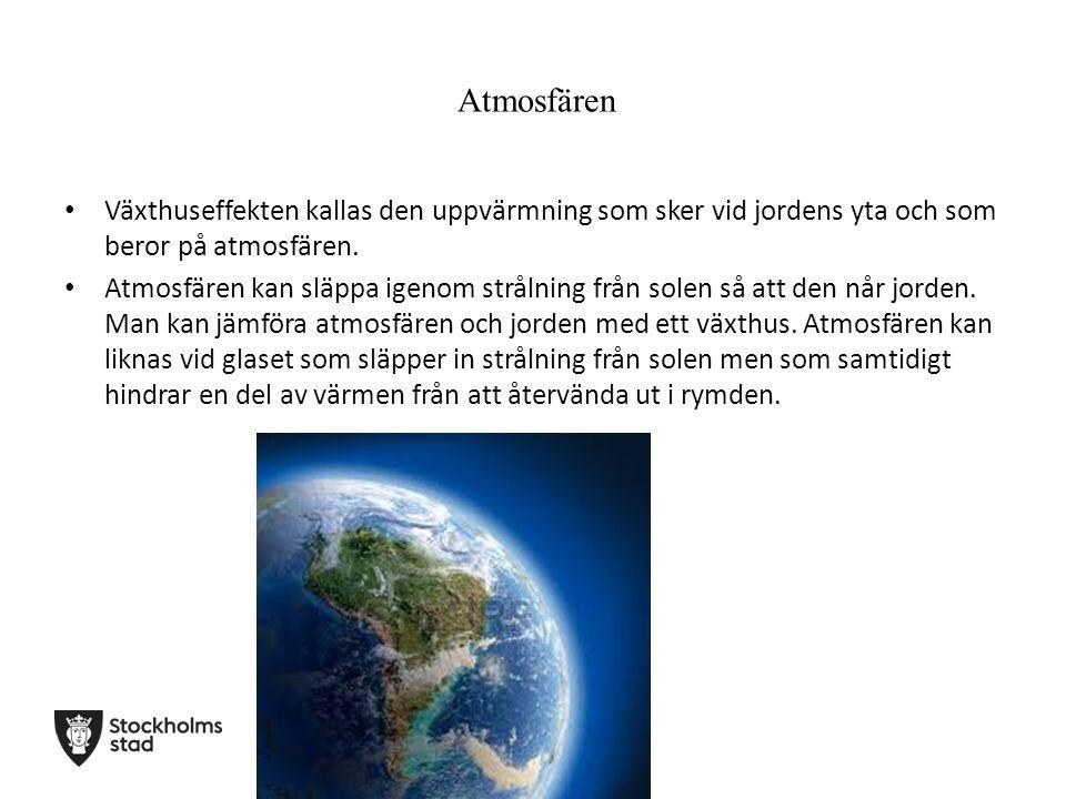 Atmosfären Växthuseffekten kallas den uppvärmning som sker vid jordens yta och som beror på atmosfären. Atmosfären kan släppa igenom strålning från so