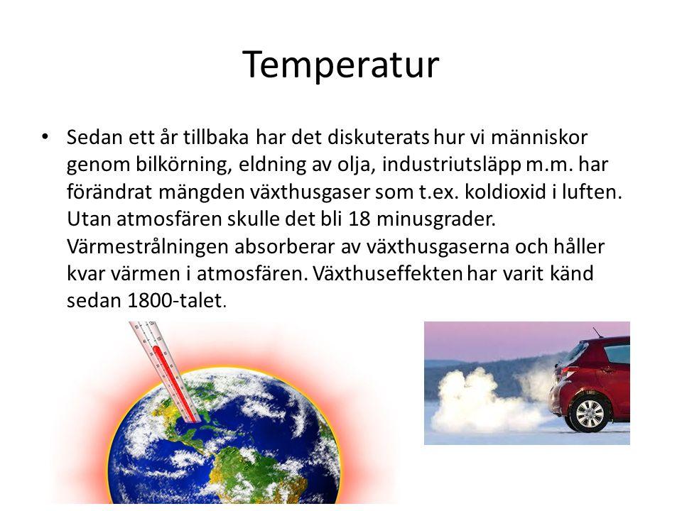 Temperatur Sedan ett år tillbaka har det diskuterats hur vi människor genom bilkörning, eldning av olja, industriutsläpp m.m. har förändrat mängden vä