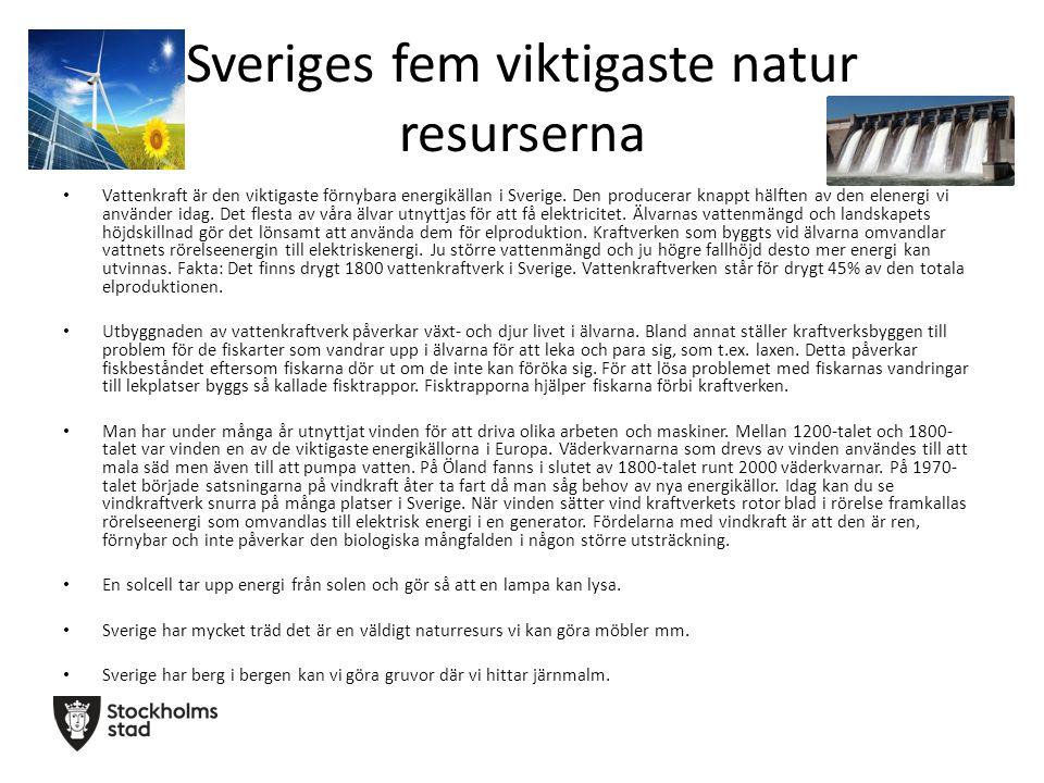 Sveriges fem viktigaste natur resurserna Vattenkraft är den viktigaste förnybara energikällan i Sverige. Den producerar knappt hälften av den elenergi