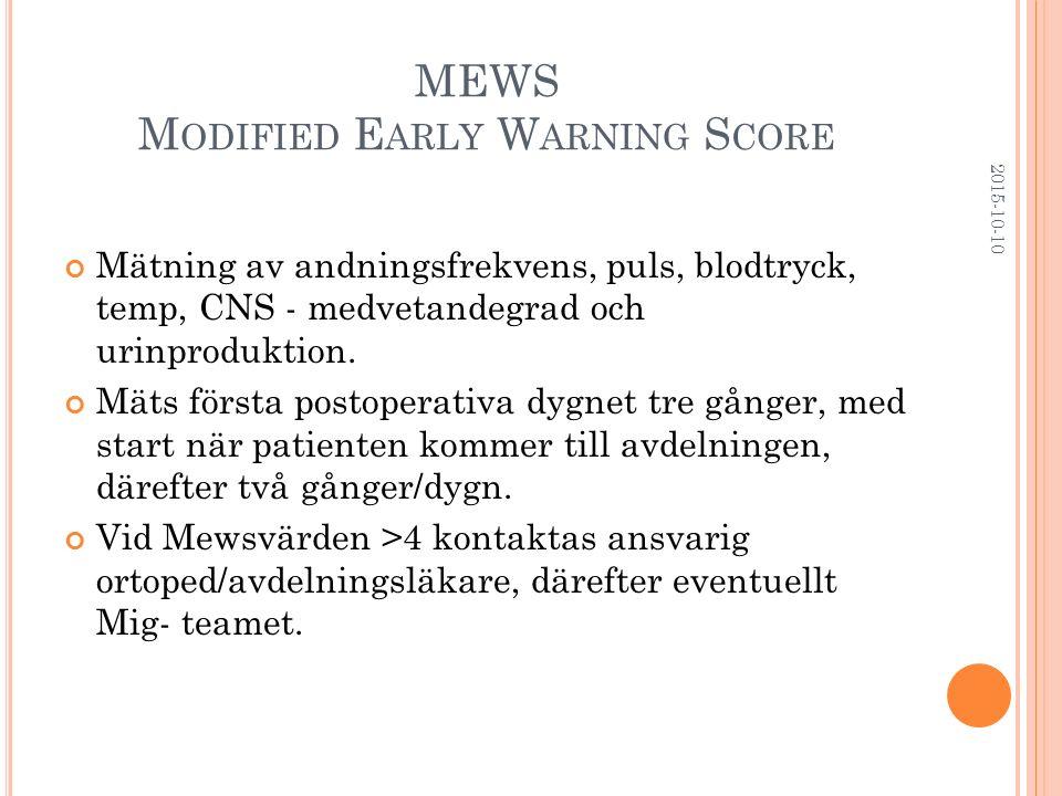 MEWS M ODIFIED E ARLY W ARNING S CORE Mätning av andningsfrekvens, puls, blodtryck, temp, CNS - medvetandegrad och urinproduktion. Mäts första postope