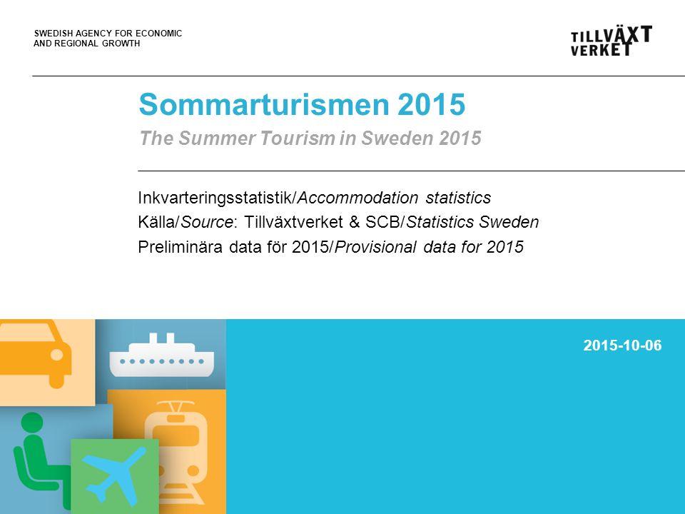 SWEDISH AGENCY FOR ECONOMIC AND REGIONAL GROWTH 26 811 828 totalt antal övernattningar I Sverige under juni-aug 2015 total no.