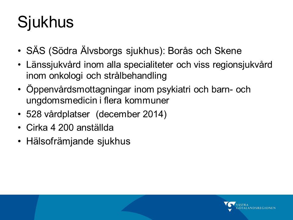 Sjukhus SÄS (Södra Älvsborgs sjukhus): Borås och Skene Länssjukvård inom alla specialiteter och viss regionsjukvård inom onkologi och strålbehandling Öppenvårdsmottagningar inom psykiatri och barn- och ungdomsmedicin i flera kommuner 528 vårdplatser (december 2014) Cirka 4 200 anställda Hälsofrämjande sjukhus