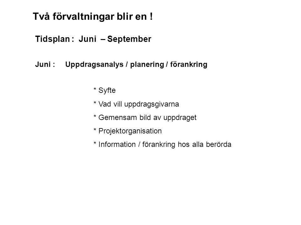 Juni : Uppdragsanalys / planering / förankring * Syfte * Vad vill uppdragsgivarna * Gemensam bild av uppdraget * Projektorganisation * Information / förankring hos alla berörda Två förvaltningar blir en .