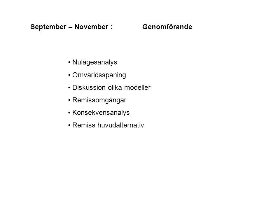 September – November : Genomförande Nulägesanalys Omvärldsspaning Diskussion olika modeller Remissomgångar Konsekvensanalys Remiss huvudalternativ