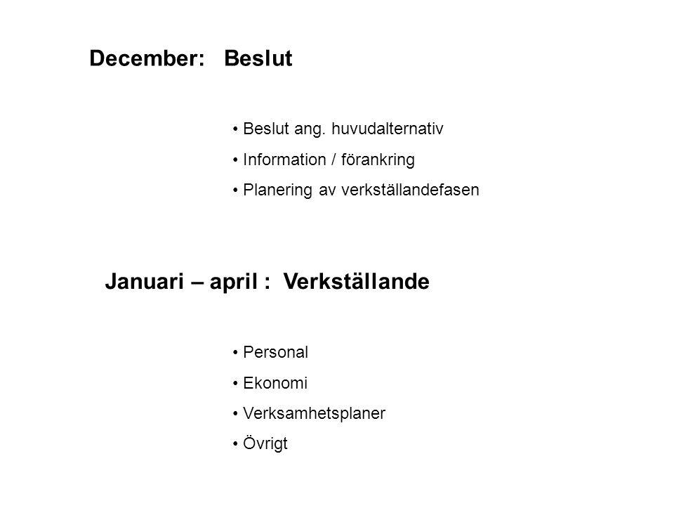 December:Beslut Beslut ang. huvudalternativ Information / förankring Planering av verkställandefasen Januari – april : Verkställande Personal Ekonomi
