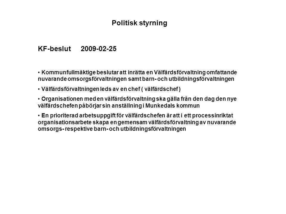 Politisk styrning KF-beslut 2009-02-25 Kommunfullmäktige beslutar att inrätta en Välfärdsförvaltning omfattande nuvarande omsorgsförvaltningen samt barn- och utbildningsförvaltningen Välfärdsförvaltningen leds av en chef ( välfärdschef ) Organisationen med en välfärdsförvaltning ska gälla från den dag den nye välfärdschefen påbörjar sin anställning i Munkedals kommun En prioriterad arbetsuppgift för välfärdschefen är att i ett processinriktat organisationsarbete skapa en gemensam välfärdsförvaltning av nuvarande omsorgs- respektive barn- och utbildningsförvaltningen