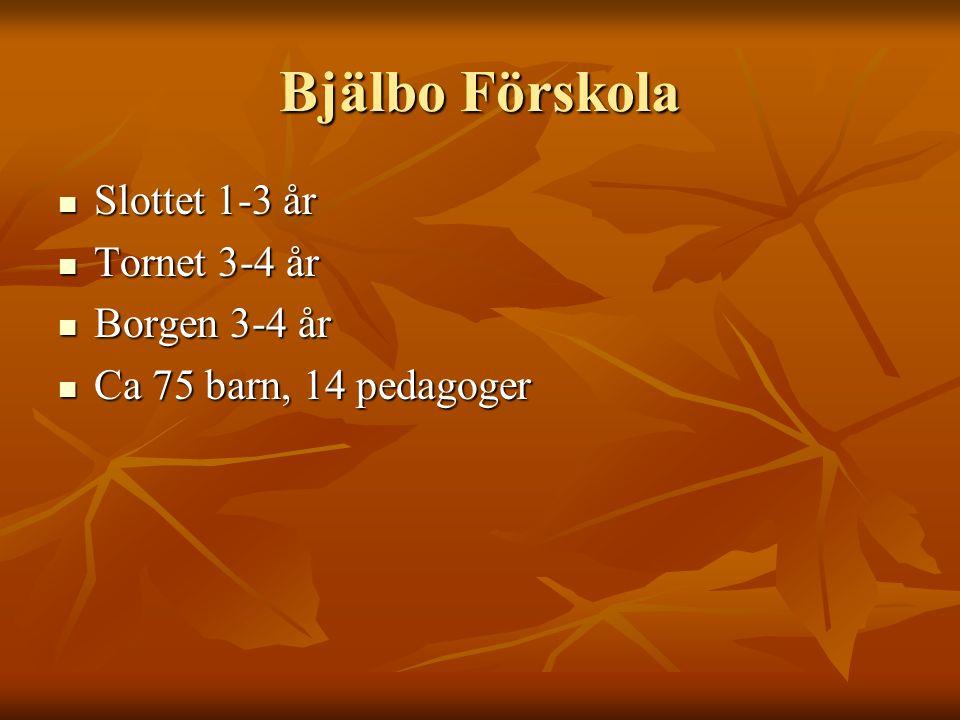Bjälbo Förskola Slottet 1-3 år Slottet 1-3 år Tornet 3-4 år Tornet 3-4 år Borgen 3-4 år Borgen 3-4 år Ca 75 barn, 14 pedagoger Ca 75 barn, 14 pedagoger
