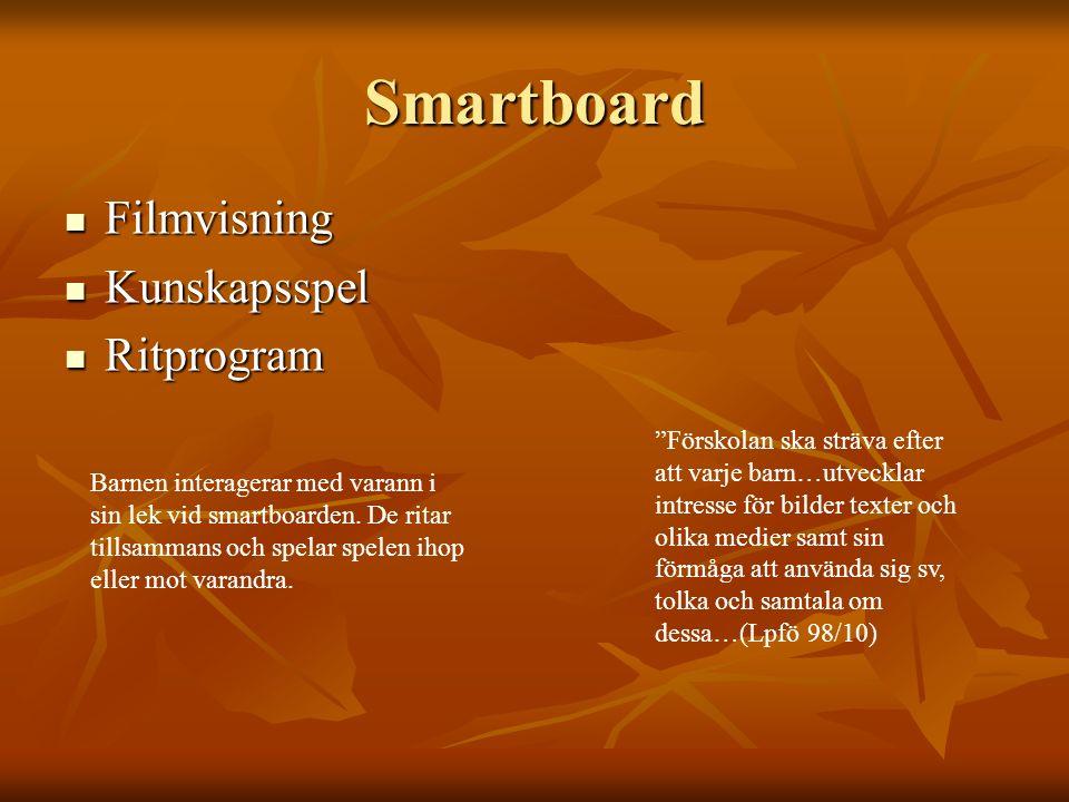 Smartboard Filmvisning Filmvisning Kunskapsspel Kunskapsspel Ritprogram Ritprogram Barnen interagerar med varann i sin lek vid smartboarden.