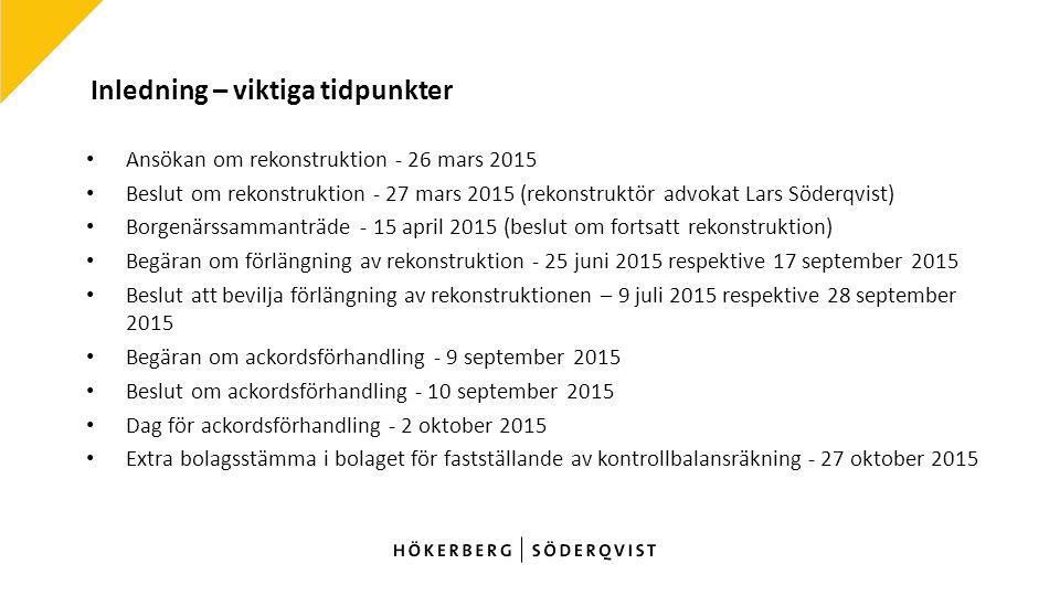 Inledning – viktiga tidpunkter Ansökan om rekonstruktion - 26 mars 2015 Beslut om rekonstruktion - 27 mars 2015 (rekonstruktör advokat Lars Söderqvist) Borgenärssammanträde - 15 april 2015 (beslut om fortsatt rekonstruktion) Begäran om förlängning av rekonstruktion - 25 juni 2015 respektive 17 september 2015 Beslut att bevilja förlängning av rekonstruktionen – 9 juli 2015 respektive 28 september 2015 Begäran om ackordsförhandling - 9 september 2015 Beslut om ackordsförhandling - 10 september 2015 Dag för ackordsförhandling - 2 oktober 2015 Extra bolagsstämma i bolaget för fastställande av kontrollbalansräkning - 27 oktober 2015