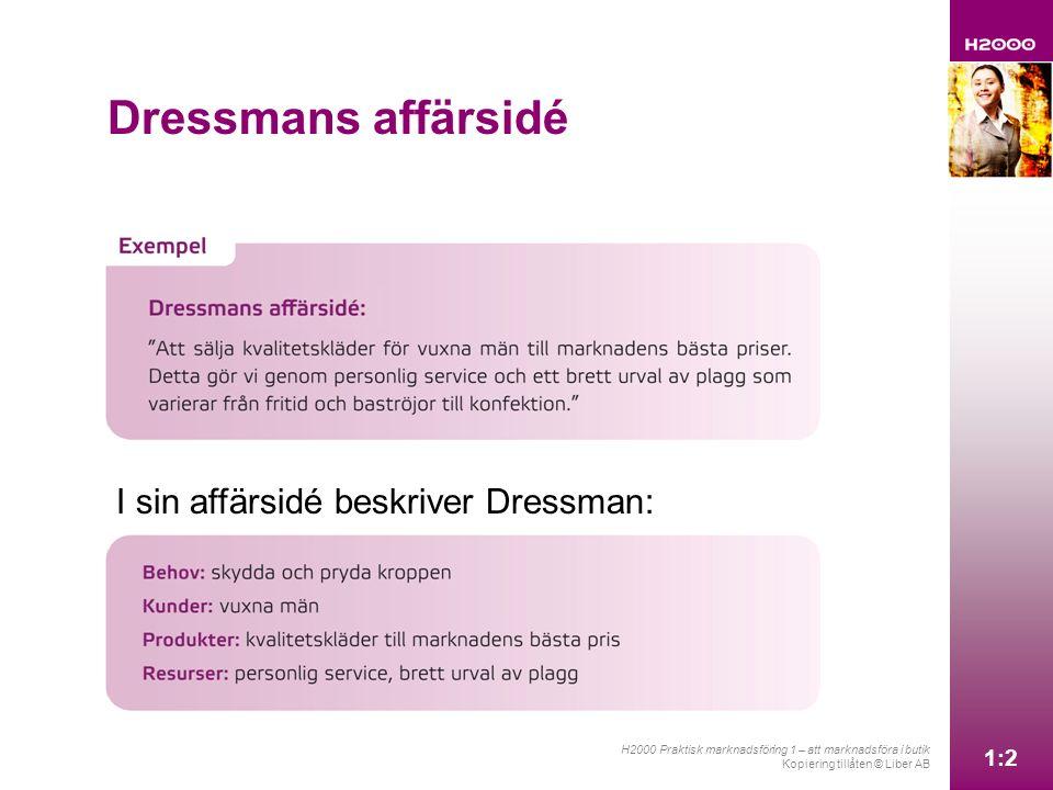 1:2 H2000 Praktisk marknadsföring 1 – att marknadsföra i butik Kopiering tillåten © Liber AB 1:2 Dressmans affärsidé I sin affärsidé beskriver Dressman:
