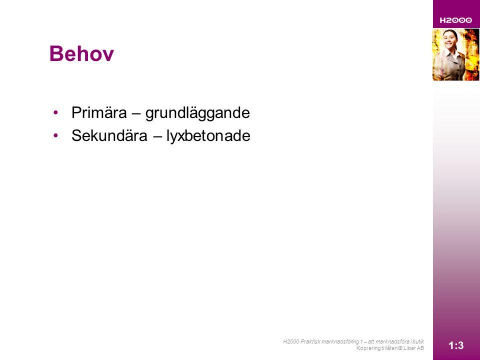 1:3 H2000 Praktisk marknadsföring 1 – att marknadsföra i butik Kopiering tillåten © Liber AB 1:3 Primära – grundläggande Sekundära – lyxbetonade Behov