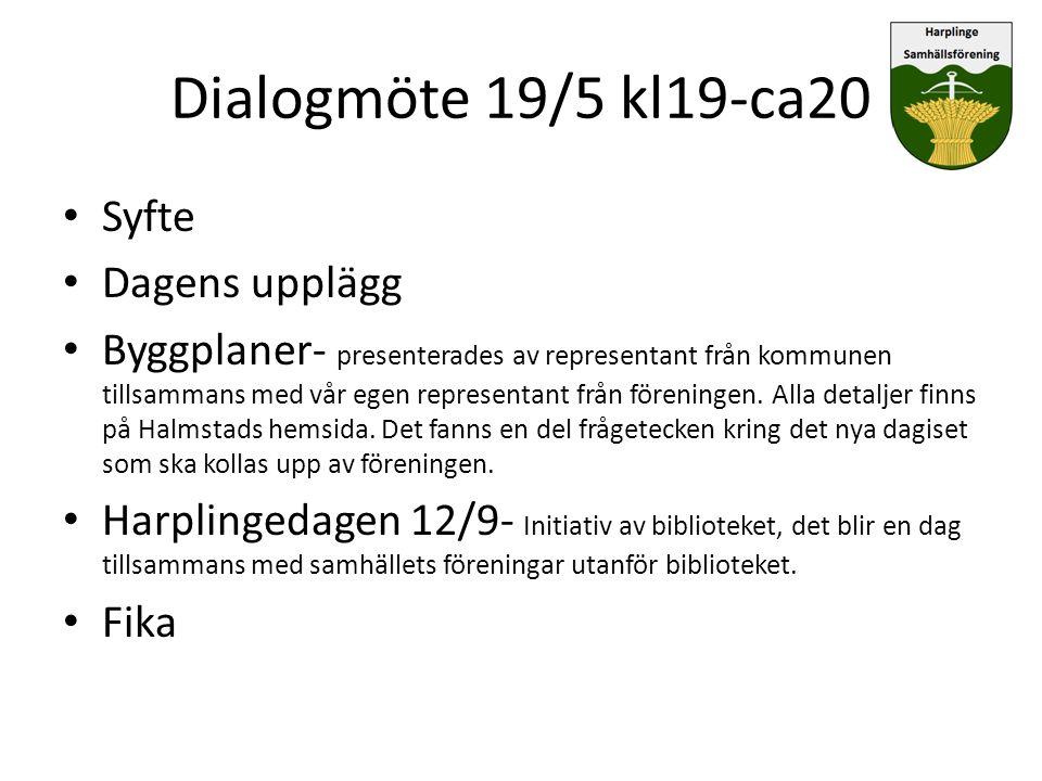 Dialogmöte 19/5 kl19-ca20 Syfte Dagens upplägg Byggplaner- presenterades av representant från kommunen tillsammans med vår egen representant från före