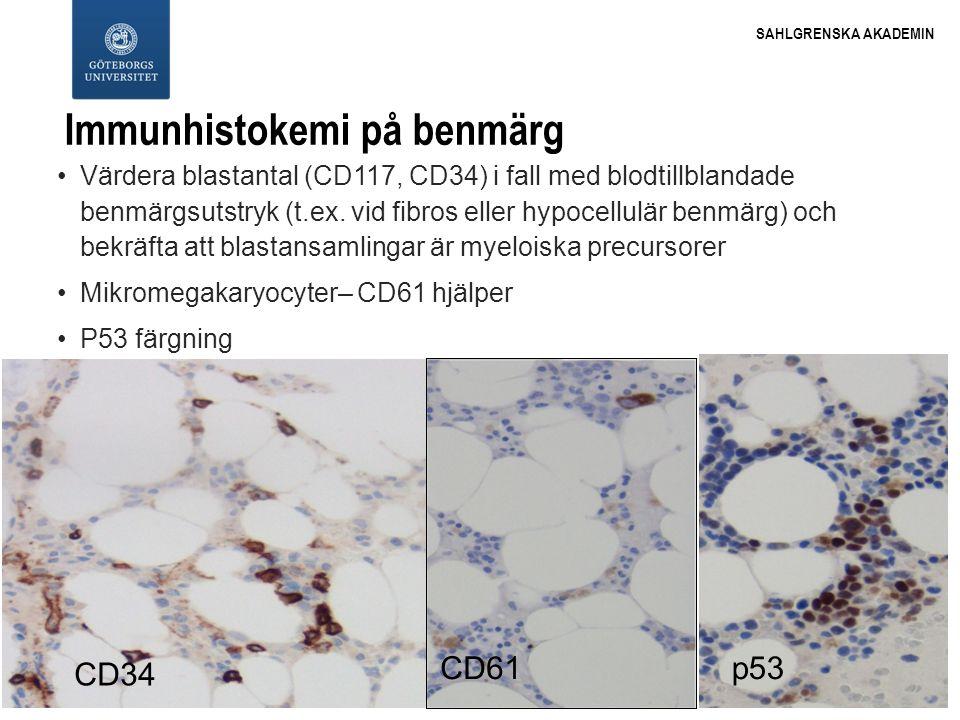 SAHLGRENSKA AKADEMIN Immunhistokemi på benmärg Värdera blastantal (CD117, CD34) i fall med blodtillblandade benmärgsutstryk (t.ex. vid fibros eller hy