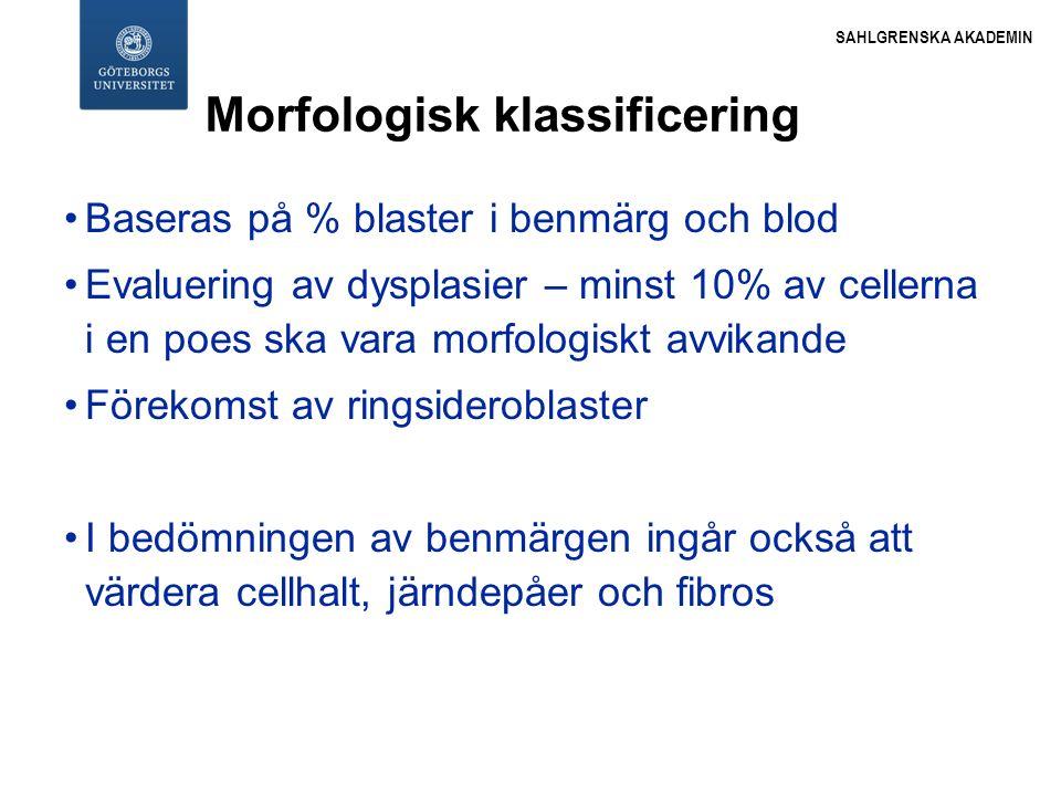 SAHLGRENSKA AKADEMIN Morfologisk klassificering Baseras på % blaster i benmärg och blod Evaluering av dysplasier – minst 10% av cellerna i en poes ska