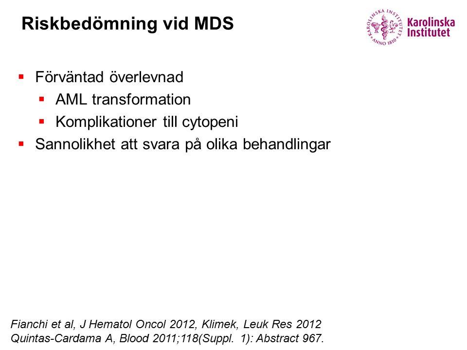 Riskbedömning vid MDS Fianchi et al, J Hematol Oncol 2012, Klimek, Leuk Res 2012 Quintas-Cardama A, Blood 2011;118(Suppl.