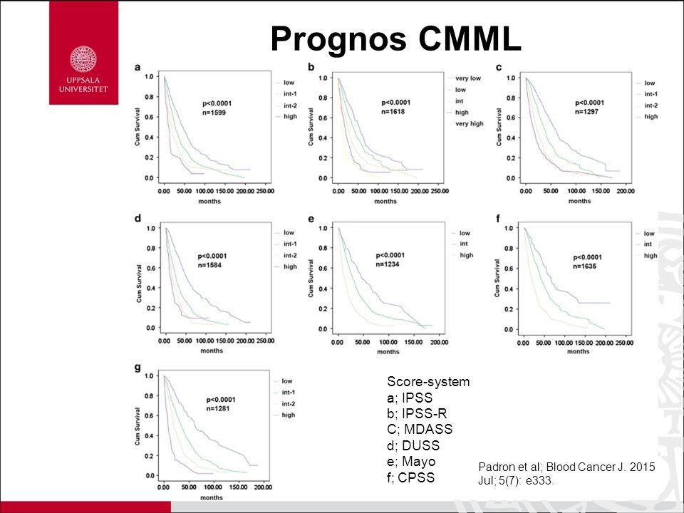 Prognos CMML Score-system a; IPSS b; IPSS-R C; MDASS d; DUSS e; Mayo f; CPSS Padron et al; Blood Cancer J. 2015 Jul; 5(7): e333.