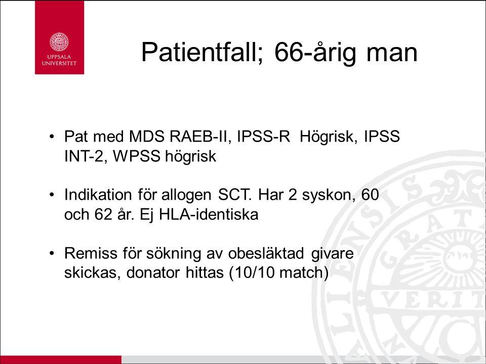Patientfall; 66-årig man Pat med MDS RAEB-II, IPSS-R Högrisk, IPSS INT-2, WPSS högrisk Indikation för allogen SCT. Har 2 syskon, 60 och 62 år. Ej HLA-