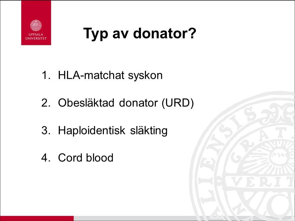 Typ av donator? 1.HLA-matchat syskon 2.Obesläktad donator (URD) 3.Haploidentisk släkting 4.Cord blood