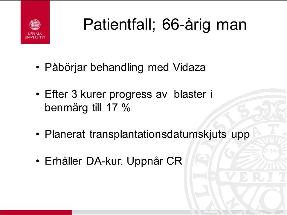 Patientfall; 66-årig man Påbörjar behandling med Vidaza Efter 3 kurer progress av blaster i benmärg till 17 % Planerat transplantationsdatumskjuts upp