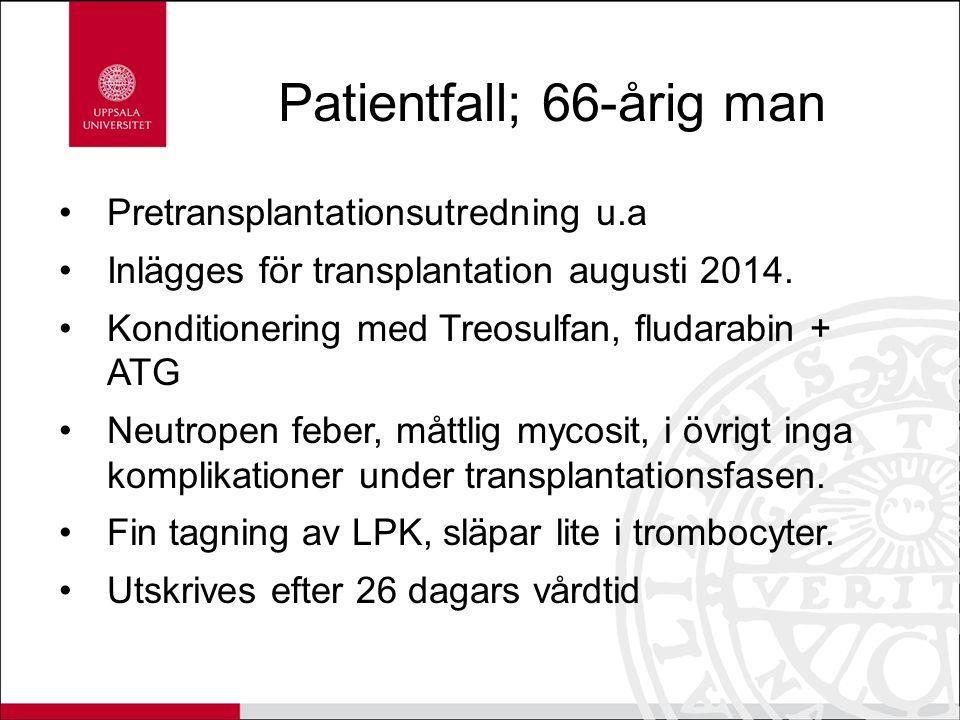 Patientfall; 66-årig man Pretransplantationsutredning u.a Inlägges för transplantation augusti 2014. Konditionering med Treosulfan, fludarabin + ATG N