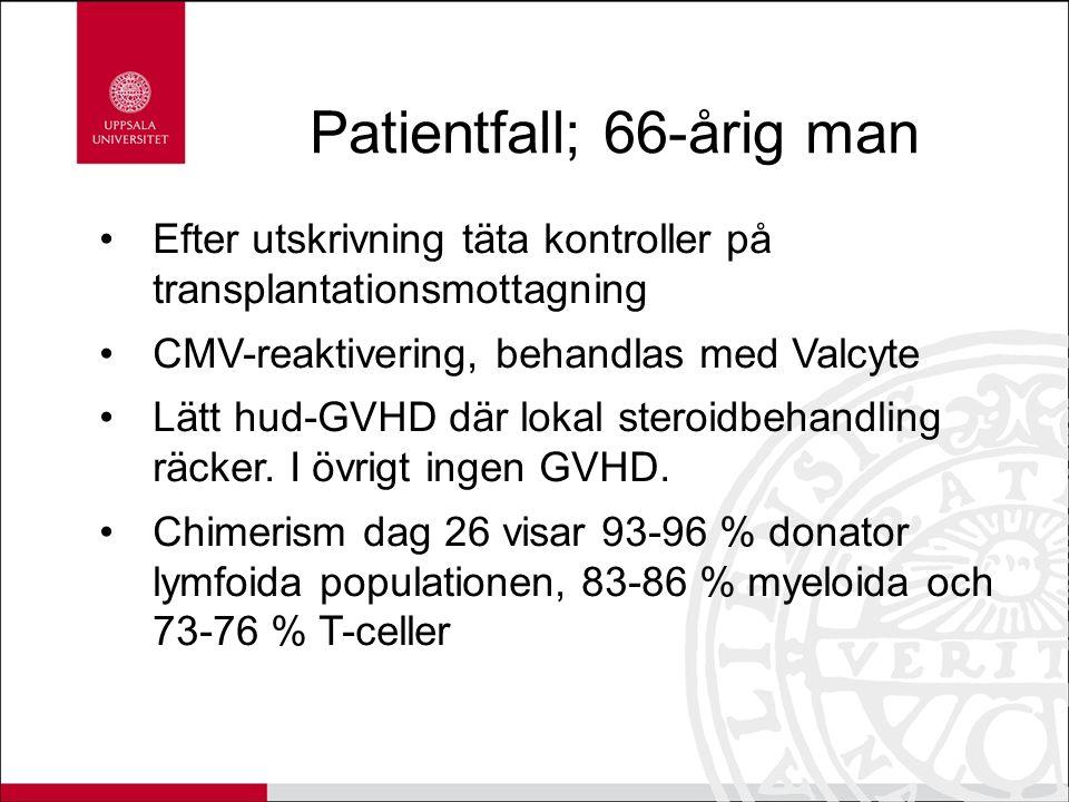 Patientfall; 66-årig man Efter utskrivning täta kontroller på transplantationsmottagning CMV-reaktivering, behandlas med Valcyte Lätt hud-GVHD där lok