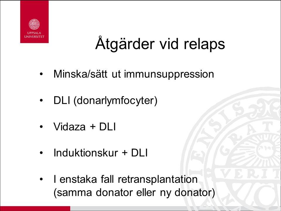 Åtgärder vid relaps Minska/sätt ut immunsuppression DLI (donarlymfocyter) Vidaza + DLI Induktionskur + DLI I enstaka fall retransplantation (samma don