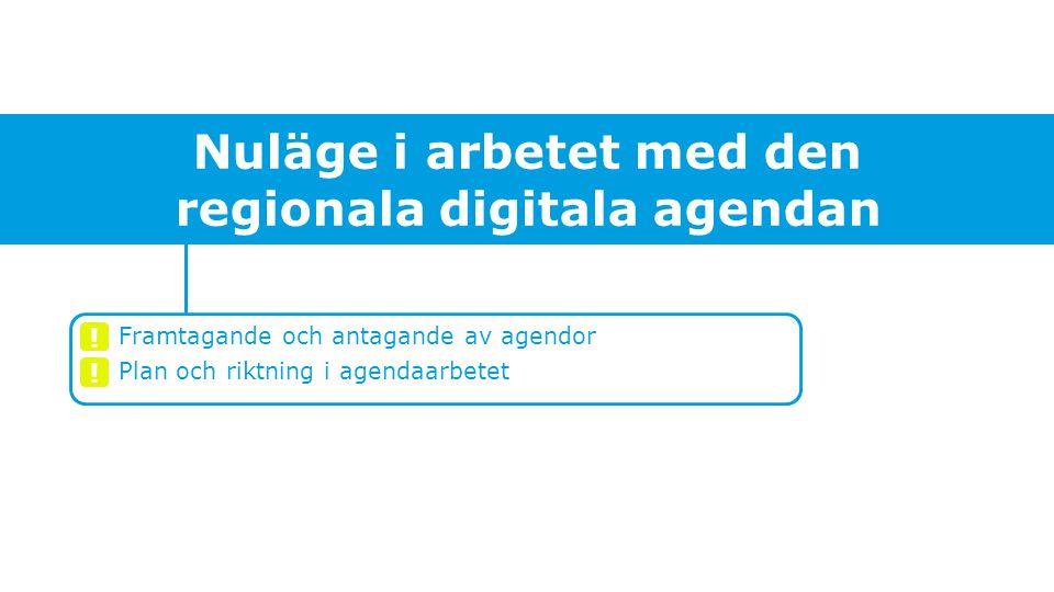 Nuläge i arbetet med den regionala digitala agendan Framtagande och antagande av agendor Plan och riktning i agendaarbetet .