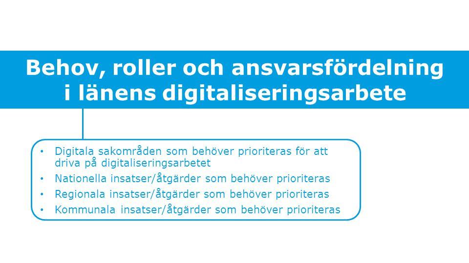 Behov, roller och ansvarsfördelning i länens digitaliseringsarbete Digitala sakområden som behöver prioriteras för att driva på digitaliseringsarbetet Nationella insatser/åtgärder som behöver prioriteras Regionala insatser/åtgärder som behöver prioriteras Kommunala insatser/åtgärder som behöver prioriteras