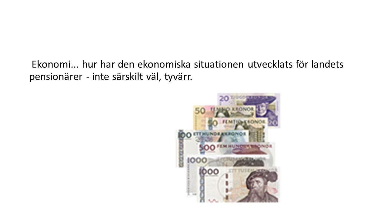 Ekonomi... hur har den ekonomiska situationen utvecklats för landets pensionärer - inte särskilt väl, tyvärr.