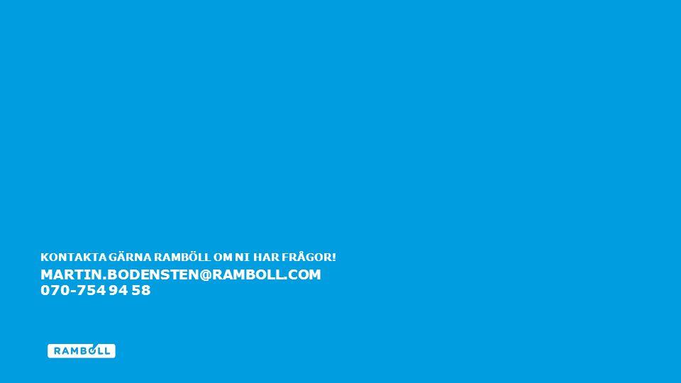 KONTAKTA GÄRNA RAMBÖLL OM NI HAR FRÅGOR! End slide MARTIN.BODENSTEN@RAMBOLL.COM 070-754 94 58