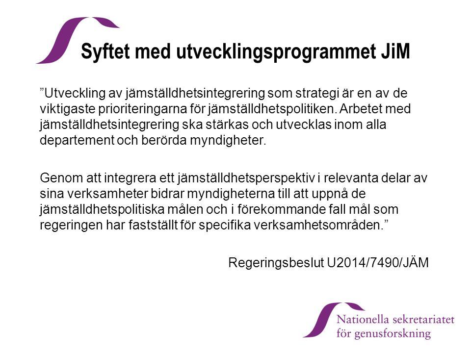 Syftet med utvecklingsprogrammet JiM Utveckling av jämställdhetsintegrering som strategi är en av de viktigaste prioriteringarna för jämställdhetspolitiken.