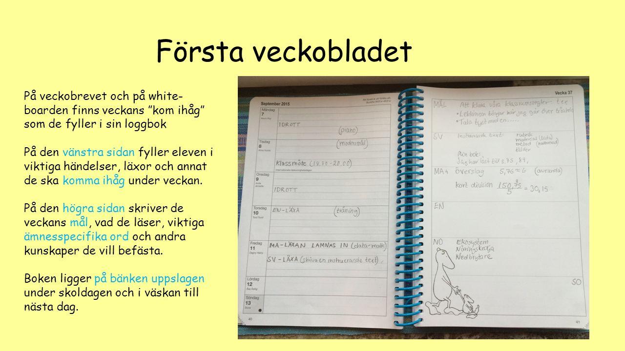 """Första veckobladet På veckobrevet och på white- boarden finns veckans """"kom ihåg"""" som de fyller i sin loggbok På den vänstra sidan fyller eleven i vikt"""