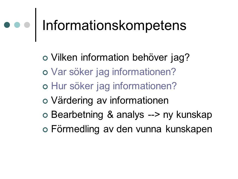 Informationskompetens Vilken information behöver jag? Var söker jag informationen? Hur söker jag informationen? Värdering av informationen Bearbetning