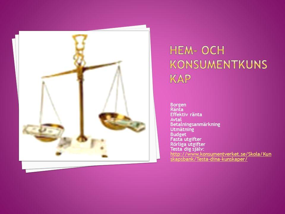 Borgen Ränta Effektiv ränta Avtal Betalningsanmärkning Utmätning Budget Fasta utgifter Rörliga utgifter Testa dig själv: http://www.konsumentverket.se