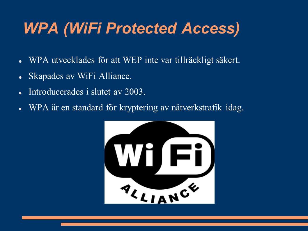 WPA (WiFi Protected Access) WPA utvecklades för att WEP inte var tillräckligt säkert.