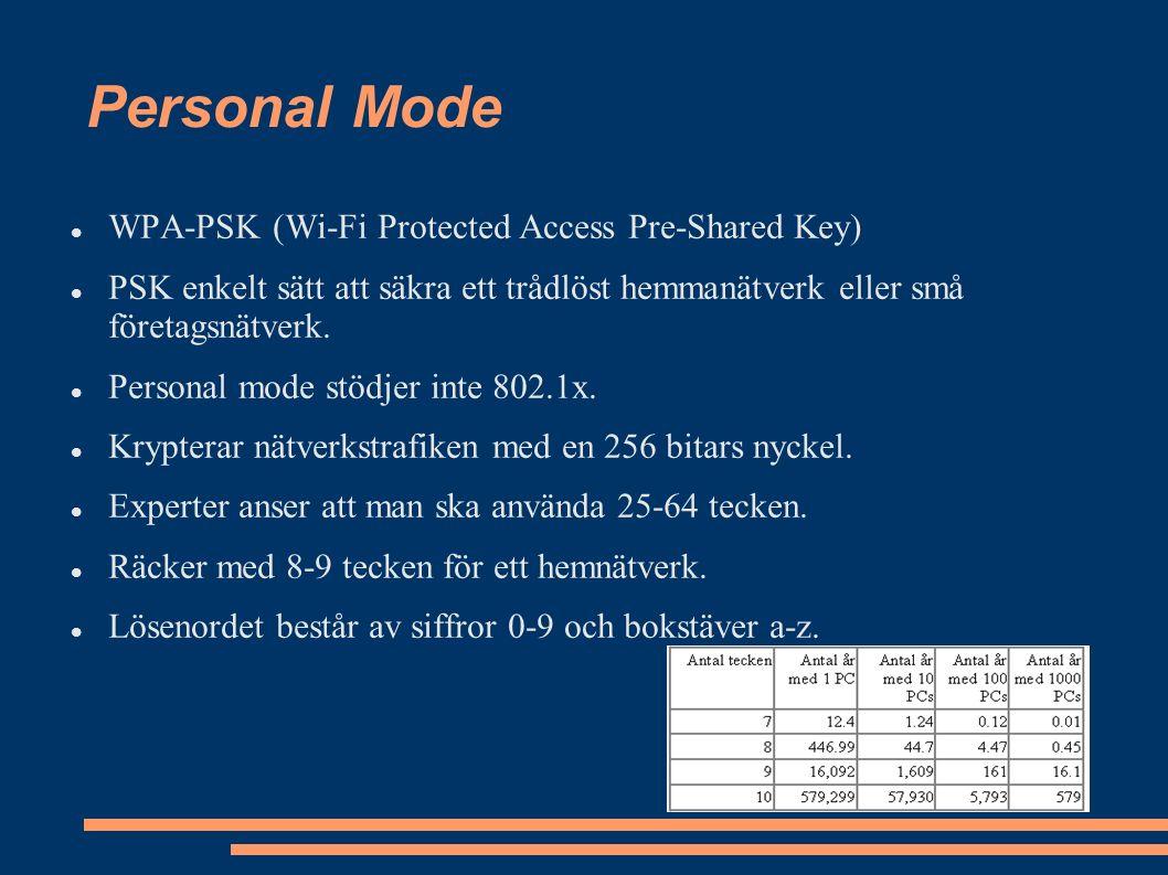 Personal Mode WPA-PSK (Wi-Fi Protected Access Pre-Shared Key) PSK enkelt sätt att säkra ett trådlöst hemmanätverk eller små företagsnätverk.
