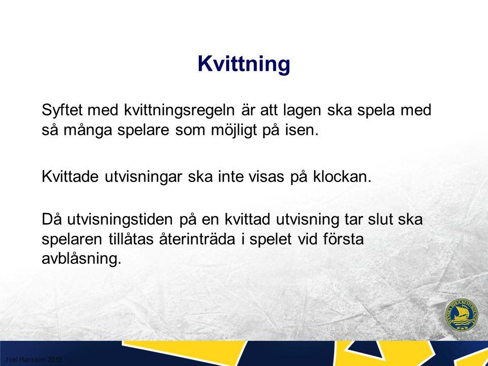 Kvittning Syftet med kvittningsregeln är att lagen ska spela med så många spelare som möjligt på isen.