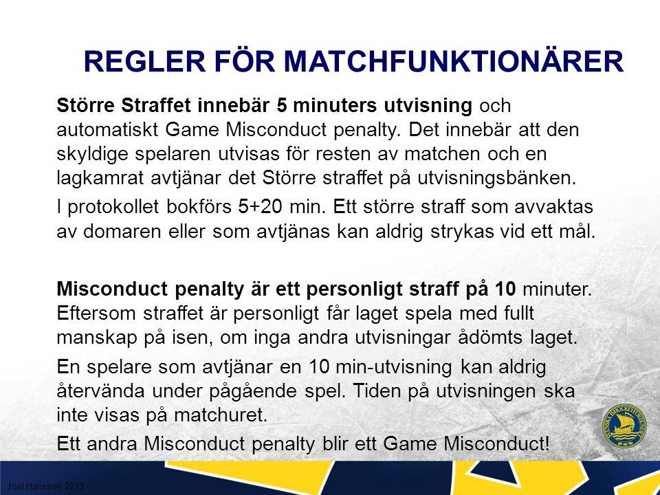 REGLER FÖR MATCHFUNKTIONÄRER Större Straffet innebär 5 minuters utvisning och automatiskt Game Misconduct penalty.